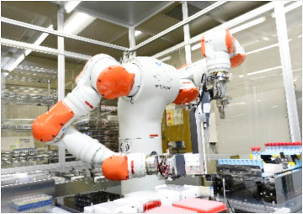 Japan's first two-armed robot used in a testing laboratory